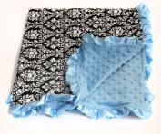 Baby Minky Receiving Blanket - Turquoise Damask