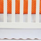 Oliver B Scallop Crib Skirt- White w/ Orange Trim