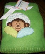 Deep Green Monkey Baby 80cm x 100cm Fleece Baby Blanket