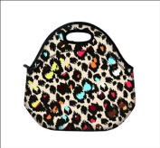 Colourful Leopard Hot Kids Neoprene Insulated Lunch Food Tote Bag Box cover baby bag Handbag Case