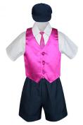 Leadertux 5pc Baby Toddler Boys Fuchsia Vest Necktie Navy Shorts Suits Cap S-4T (M: