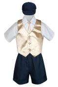 Leadertux 5pc Baby Toddler Boys Champagne Vest Necktie Navy Blue Shorts Cap S-4T (M: