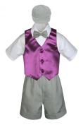 Leadertux 5pc Formal Baby Toddler Boys Eggplant Vest Light Grey Shorts Cap S-4T (M:
