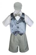 Leadertux 5pc Formal Baby Toddler Boys Dark Grey Vest Lt. Grey Shorts Cap S-4T (S: