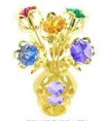 24k Gold Plated 5 Flowers in Vase Free Standing with Mixed. Element Crystals