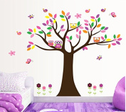 Colourful Leaves Tree Owls Butterflies Birds Wall Decal Home Sticker Paper Removable Living Dinning Room Bedroom Kitchen Art Picture Murals DIY Stick Girls Boys kids Nursery Baby Playroom Decoration PP-DF5084