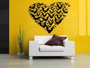 Wall Room Decor Art Vinyl Sticker Mural Decal Heart Shape Bats Bat Large AS1837