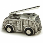 Fire Truck Bank, Pewter Finish