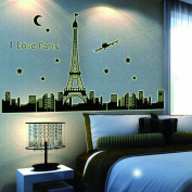 Dupin (TM) I Love Paris Wall Decal Skyline Eiffel Tower Glow in dark Wall Decal Stickers for Kids Room Living Room
