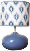 Dena Indigo Lamp Base and Shade, Blue/White