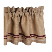 Home Collection by Raghu Burlap Stripe Barn Red and Wheat Valance, 180cm by 39cm