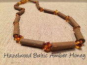 Hazelwood Necklace Baltic Amber Honey Natural Organic for babies baby infant toddler bub for Gut issues; Eczema, Colic, Reflux, GERD, heartburn, and ulcers. 100% Satisfaction Guaranteed. 33-34 cm 13 inches