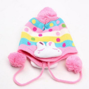 Nicerocker Fashional Knitted Winter Warm Rabbit Style Flap Cap Scarf Set for Baby