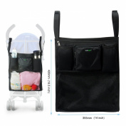 Lavievert Universal Stroller Organiser Nappy Bag Stroller Accessories Pack with Drink Holders and Zipped Pockets Can Be Used As an Attachment For Car, Shopping Cart or Bike While Travelling or Outings
