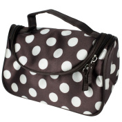 niceEshop(TM) Coffee Small White Polka Dot Dual Zipper Cosmetic Bags Toiletry Makeup Bags Hand Case Bags