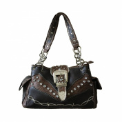 Texas West Premium Rhinestone Buckle Handbag Purse in Medium and Large Sizes. Black and Brown