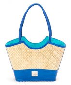Landfill Dzine Women's Recycled Layflat and Bamboo Bag with Fabric Handle Blue