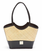 Landfill Dzine Women's Recycled Layflat and Bamboo Bag with Fabric Handle Black
