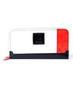 Women's Recycled Zipped Around Wallet Red White and Black