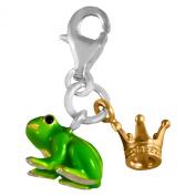 Thomas Boycott 0931-427-6 Silver Plated Crown Pendant Charm with Green Frog Regenbogen/Black Enamelled