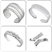 Set Of 4 Solid Sterling Silver Toe Rings Top Designs