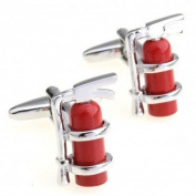 SCORPIUS GIFTS ' Fire Extinguisher ' Theme Stainless Steel Cufflinks In Free Gift Bag