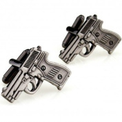 SCORPIUS GIFTS ' Guns ' Theme Stainless Steel Cufflinks In Free Gift Bag