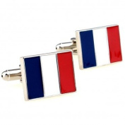 SCORPIUS GIFTS ' French Flag ' Theme Stainless Steel Tricolour Cufflinks In Free Gift Bag