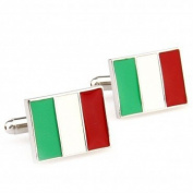 SCORPIUS GIFTS ' Italian Flag ' Theme Il Tricolore Stainless Steel Cufflinks In Free Gift Bag