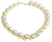 18mm Large Big Giant Faux Pearl Necklace Light Cream Vintage Great Gatsby