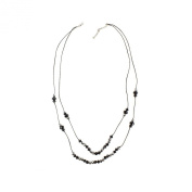 Vintage style Two Row Faceted Glass Black Beads Necklace two strand necklace for women