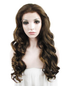 IMSTYLE Heat Resistant Fibre Lace Wig Synthetic Hair 60cm Long Wavy Wig Synthetic Front Wigs Honey Blonde Colour