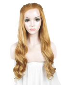 Imstyle Women Long Wavy Blonde Lace Front Wig Synthetic Lace Wigs Heat Resistant Wigs for for Cosplay Drag Queen