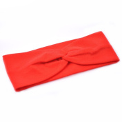 Women Stylish Wide Knot Plain Hair Headbands , Stretch Fabric Band, Red