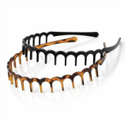 2 BLACK BROWN SET 2cm Tooth Alice Band Hair Head Headband Sharks Tooth Zig Zag