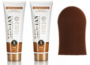 XEN TAN Deep Bronze Luxe Fake Tanner Self-Tanning Lotion 236ml x2 WIth Mitt
