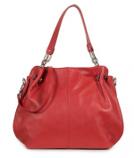 Italian nappa leather shoulder bag made of soft leather - large