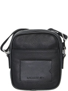 Black leather crossbody bag for man, french brand Lacoste