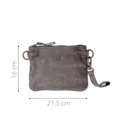 Clutch bag in washed leather shoulder and wrist strap DUDU Grey Stone