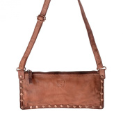Women's shoulder bag washed leather studs and strap DUDU Onyx Brown