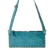 Women's shoulder bag washed leather studs and strap DUDU Malachite Green