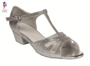 Girls Silver Glitter Ballroom Shoes with 3cm heel - sizes 9 small to 5 large