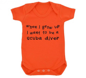 When I Grow Up I Want To Be A Scuba Diver Design Baby Bodysuit Orange with Black Print