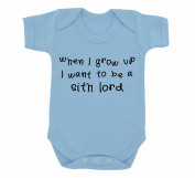 When I Grow Up I Want To Be A Sith Lord Design Baby Bodysuit Sky Blue with Black Print