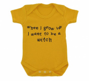 When I Grow Up I Want To Be A Witch Design Baby Bodysuit Sunflower Yellow with Black Print