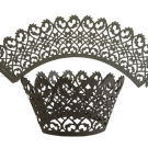 100pcs Little Flower Vine Lace Laser Cut Cupcake Wrappers Wraps Liners Baking Cup Muffin Case Trays Wedding Birthday Party Decoration Black