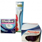 Denture Care Products - Efferdent Cleaner, Case - Bath & Brush Bundle
