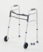 Cardinal Health CWAL0006 Dual Release Walker with Single Wheels in Front, Aluminium, 140kg