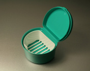 DNT Denture Soaking Cup and Storage Box with Rinsing Basket