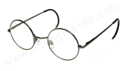 i*sunglasses.com Round John Lennon Glasses Curly Cable Temples Gunmetal/Clear ML